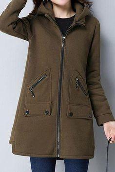Casual Zipper Up Hooded Collar Pocket Coat - Army Green Coats For Women, Clothes For Women, Iranian Women Fashion, Casual Outfits, Fashion Outfits, Green Coat, Jackett, Outerwear Women, Mantel