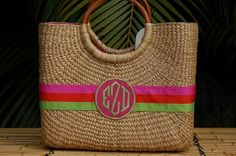 Monogrammed Medium Becky Florida Basket 10 By 12 By 5 Inches At The Pink Monogram Square Baskets, Shopping Totes, Monogrammed Purses, Straw Handbags, Pack Your Bags, Basket Bag, How To Make Handbags, Summer Bags, Monogram Gifts