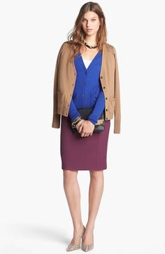 """This ensemble is perfect for the office.  To avoid bulk, replace the blue sweater with a knit top. Add a small square scarf in a """"V"""" fashion for a longer neck than this necklace allows and a little print for extra pop. The nude patents on this board will finish it off! Halogen® Merino Cardigan & Pencil Skirt 