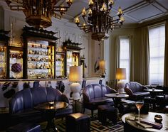 So chic-moody, dark and sexy gorgeous room. The Artesian Bar at The Langham Hotel in London designed by David Collins.