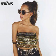 Handmade Festival Crop Top Women Summer Beach Bikini Velvet Tank Top Tees Sexy Tie Up Back Sequin Coins Female Tube Tops