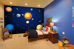 Solar system space and planets themed children's bedroom with wall mural