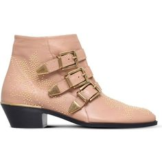 Chloe Susanna studded leather ankle boots ($980) ❤ liked on Polyvore featuring shoes, boots, ankle booties, nude, leather booties, zipper boots, leather boots, short leather boots and studded ankle boots