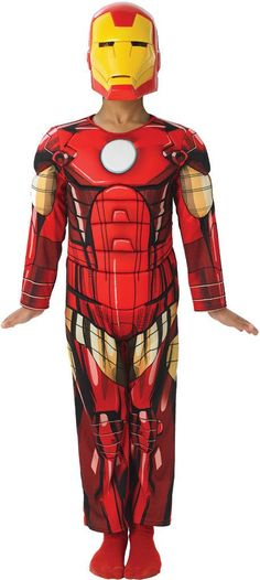 Boy's Costume: Iron Man | MediumHelp your child become their favorite Marvel superhero with this great new costume! Muscle chest jumpsuit and mask. Child size medium fits sizes 8-10.Size: Medium (8-10
