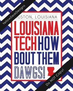 Louisiana Tech University Game Day Poster on Etsy, $15.00