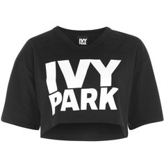 Logo Cropped v Neck Tee by Ivy Park (66 BRL) ❤ liked on Polyvore featuring tops, t-shirts, black, crop top, jersey t shirt, short sleeve v-neck tee, v neck crop top, cotton v neck t shirts and cropped tops