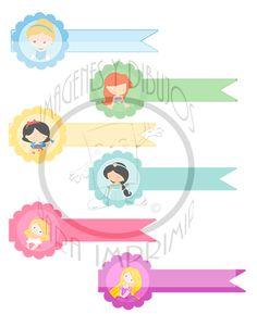 etiquetas princesas disney para poner nombre en sus cuadernos, cerrar bolsitas de golosinas, ordenar y decorar