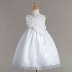 Flower Girl Dress Style 880- Rolled Floral Bodice with Fine Tulle Overlay Skirt $39.99
