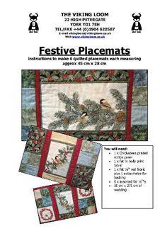 Chickadee Placemats Pattern