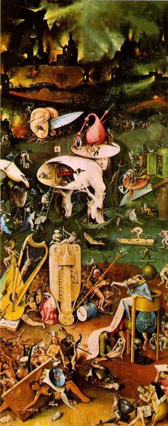 "Hieronymus Bosch  www.artexperiencenyc.com One panel of a triptych painting called ""The Garden of Earthly Delights""."