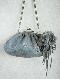 purse with  hand dyed corsage - lace, silver, gray, blue - ooak