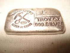 SILVER Bar Ingot Old Style Bar .999  Loaf Hand Poured Rare 1 TROY OZ.