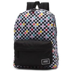 The Realm Classic Backpack is a polyester two-pocket backpack with a zippered main compartment, a front organization pocket, adjustable padded straps, and debossed lining at the interior back panel. Pretty Backpacks, Cute Backpacks For School, Big Backpacks, Awesome Backpacks, College Backpacks, Vans Backpack, Backpack Bags, Stylish School Bags, Vans Bags