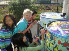 "Rain Barrels to teach about water conservation. This blog is amazing. The teacher teaches ""Garden Class""."