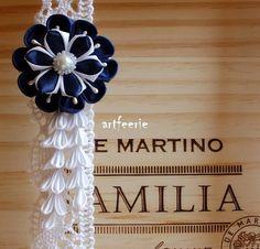 Haarspange*blau*weiß*Hochzeit*Party*Kanzashiblüte von Artfeerie auf DaWanda.com