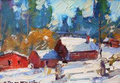 """Winter in Big Bear,"" Karl Dempwolf, oil, 5 x 7 in."
