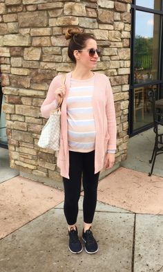 cardigan, top, maternity leggings, shoes, purse (Kate Spade outlet) As I get further along in my pregnancy, leggings are becoming a weekend staple! I still try to muster the strength to be fashionable, but I'm telling you sometimes it's tough. This outfit that I wore last weekend was simple, but I am loving the pinks …
