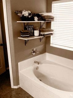 Bathroom Shelves over garden tub Shelves, Trendy Bathroom, Home Remodeling, Bathroom Shelves, Home Decor, Home Deco, Home Diy, Bathroom Decor, Bathroom Inspiration