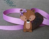 Woodland Beaver Ribbon Sculpture Hair Clip, Woodland Creatures Collection, Forest Animal Hair Bow