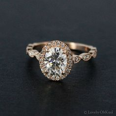 Forever Brilliant Oval Cut Moissanite Engagement Ring, Vintage Engagement Rings, Charles and Colvard, Rose Gold by lovebyohkuol