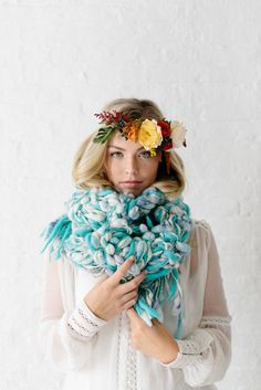 Marled Chunky Cocoon Scarf in Turquoise | Knit Collage