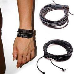 Damen Herren Unisex Strick Armband Liebespaar Kundstleder Vintage Farbwahl Neu