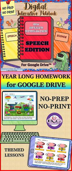 Speech Therapy Homework Year Long: This is a comprehensive NO PREP, NO PRINT Digital Interactive Notebook for Google Drive (PLUS a PDF version) that streamlines SPEECH HOMEWORK for the ENTIRE SCHOOL YEAR! It is fully interactive with simple to follow instructions on every slide. Themed activities including gameboards w/ built-in pawns, tic tac toe, connect the dots and MORE! #speechtherapy #homework #speechhomework #articulationhomework #yearlonghomework #digitalinteractivenotebook…