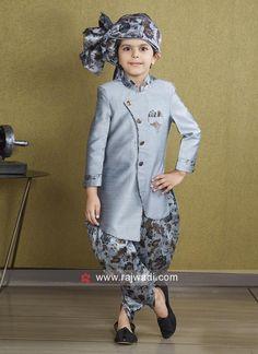 Attractive Grey Indo Western For Kids Boys Party Wear, Kids Party Wear Dresses, Kids Wear Boys, Dresses Kids Girl, Kids Outfits, Baby Dresses, Kids Indian Wear, Kids Ethnic Wear, Wedding Dress For Boys