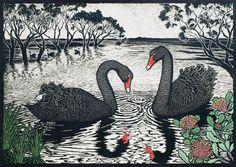 Rachel Newling (Australian contemporary artist and printmaker) - Black Swans - Hand coloured linocut on handmade Japanese paper