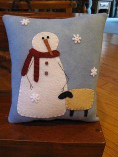 Snowman & Sheep Pillow