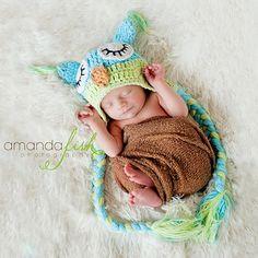 crochet newborn hat animal | ... Boy Berry Blue and Green Owl Crochet Baby Hat - Knit Animal