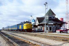 VIA 6510-72 021889 VIA 6510 with Windsor to Toronto train 72 arrives at Glencoe, mile 27.7 on the CN's Chatham Sub. February 18, 1989