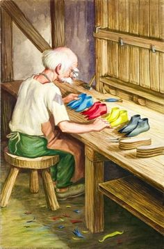 Leather for four pairs - The Elves and the Shoemaker - Robert Lumley - Ladybird book
