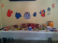 Vegetable/fruit tray table for Florida gator baby shower