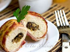 Bacon Wrapped Cheese & Mushroom Stuffed Chicken Breasts #ChickenRecipes #BaconWrappedChicken