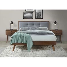 Bed Frame Full With Headboard Bedroom Bed Design, Bedroom Sets, Modern Bedroom, Modern Beds, Modern Living, Master Bedroom, Bedrooms, Wood And Upholstered Bed, Upholstered Platform Bed