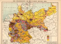 Germany: die Volksdichte im Deutschen Reiche: a map of the population density of the Second Reich Modern History, Natural History, European History, Historia Universal, History Timeline, Old Maps, Vintage Maps, City Maps, Historical Maps
