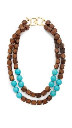 Kenneth Jay Lane Two Row Wood Bead Necklace