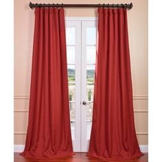 Red 'Heirloom' Heavy Faux Linen Curtain Panel