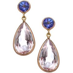 Tresor Gold Tanzanite and Morganite Mosaico Drop Earrings - Polyvore
