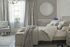 Find sophisticated detail in every Laura Ashley collection - home furnishings, children's room decor, and women, girls & men's fashion. Bedroom Wallpaper Laura Ashley, Laura Ashley Bedroom, Dove Grey Bedroom, Grey Bed Frame, Quilt Set, Luxurious Bedrooms, Beautiful Bedrooms, Stores, Bed Linen