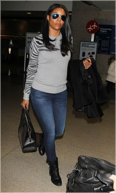 Gabrielle Union At LAX - cute sweater!