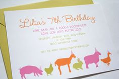 Petting Zoo Party Invitation in 3 Colorways by deepbluesea on Etsy, $20.00