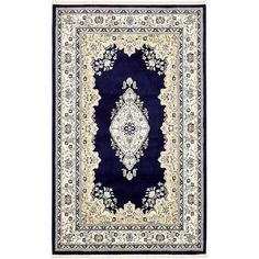 Charlton Home Courtright Navy Blue/Ivory Area Rug Rug Size: 13' x 19' 8""