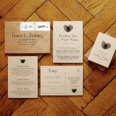 Fingerprint And Calligraphy Wedding Invitation Suite