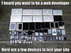 Web developer testing. Tech Meme