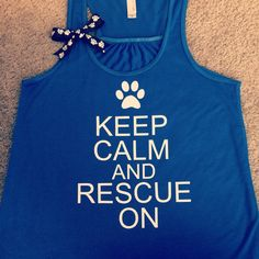 Keep Calm and Rescue On - Ruffles with Love - Racerback Tank - Womens Fitness…