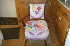 Vintage chair we recovered with an old chenille bedspread <3
