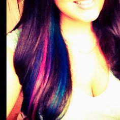 Pink purple and teal streak