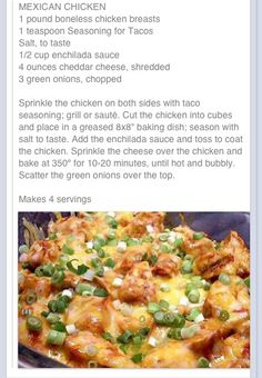Mexican Chicken--Want to try! Maybe serve over quinoa (or yellow rice) and add chopped lettuce, tomato, avocado, and a little sour cream. Crockpot Recipes, Chicken Recipes, Cooking Recipes, Healthy Recipes, Chicken Meals, Skinny Recipes, Great Recipes, Dinner Recipes, Favorite Recipes